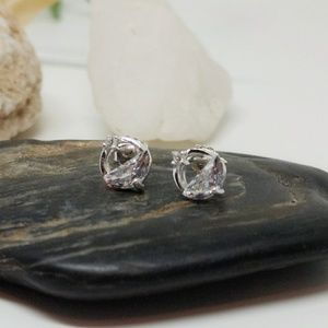 Dainty Round CZ Hollow Stud Earrings | 925 Silver